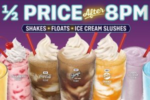 Sonic Half Price Shakes, Floats and Ice Cream Slushes After 8 pm
